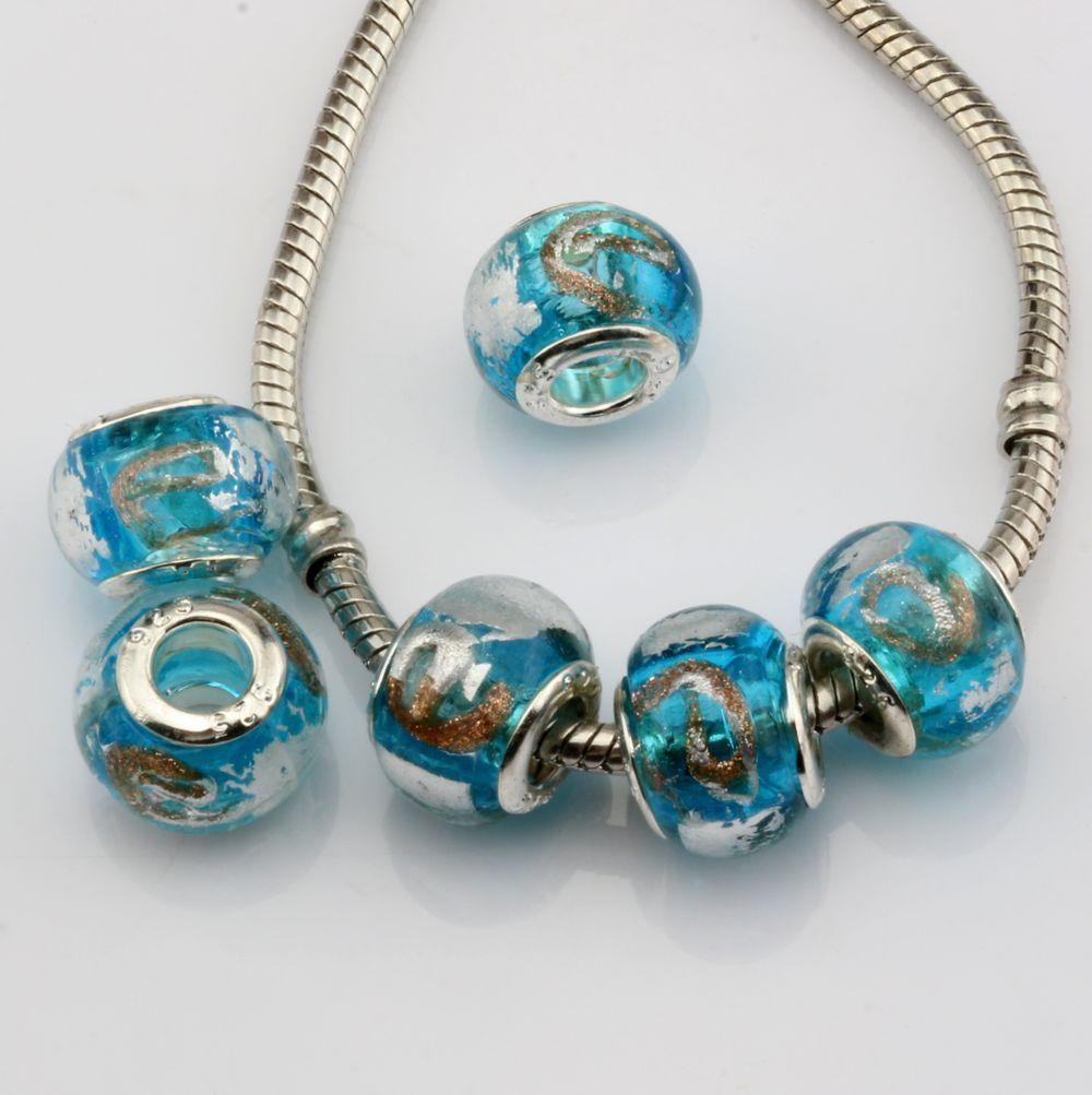 "MIC 50pcs Sky Blue Gold Silver Foil Alphabet ""e"" lampwork Glass Large Hole Beads Fit Beaded Bracelet"