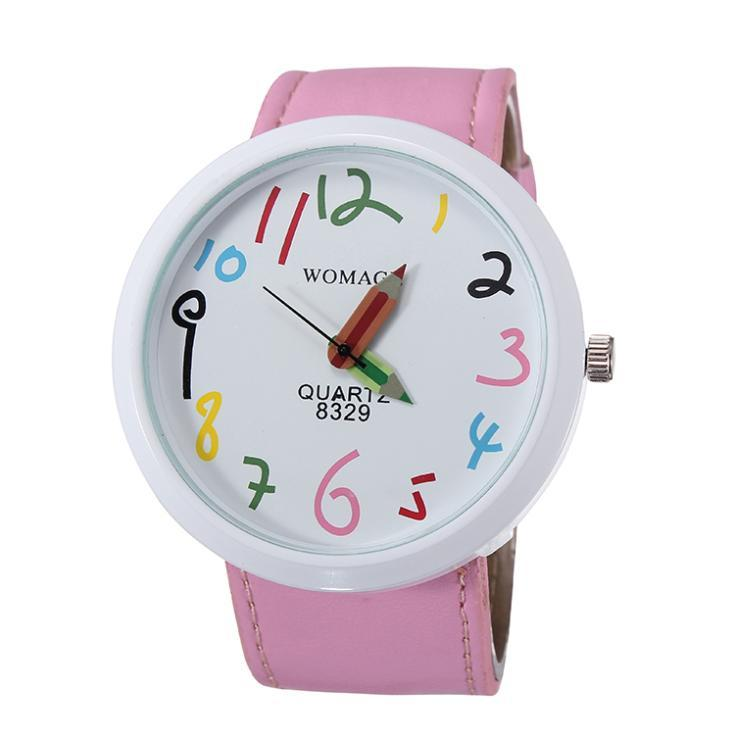 2018 new fashion children watch lovely little girl leather straps watches pencil cartoon watch students quartz wristwatch pink black