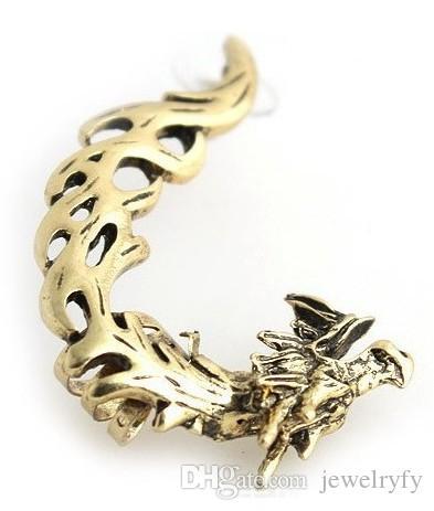الكلاسيكية خمر التنين كليب حلق للبنات ، القوطية الشرير نمط المعادن القرط الكفة ل الأذن اليسرى المجوهرات بالجملة