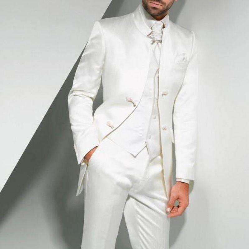 신랑 착용 중국 스타일 두 버튼 맞춤 제작 남자를위한 화이트 튜닉 웨딩 턱시도는 세 조각 신랑 들러리 정장 (재킷 + 바지 + 조끼) 정장