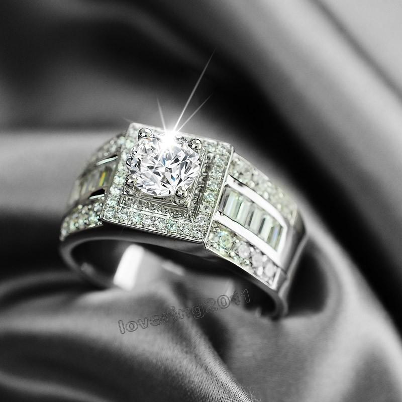 حجم 8-13 حار بيع المجوهرات الفاخرة 10kt الذهب الأبيض معبأ توباز جوهرة الرجال الزفاف محاكاة الماس الزفاف خاتم الخطوبة مجموعة هدية