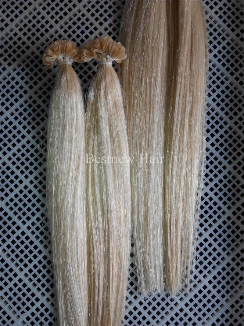 "100g Brazilian Indian Remy Nail U tip hair extensions 1g/s 16"" 18"" 20"" 613# Bleach Blonde Nail Tips Hair Sets"