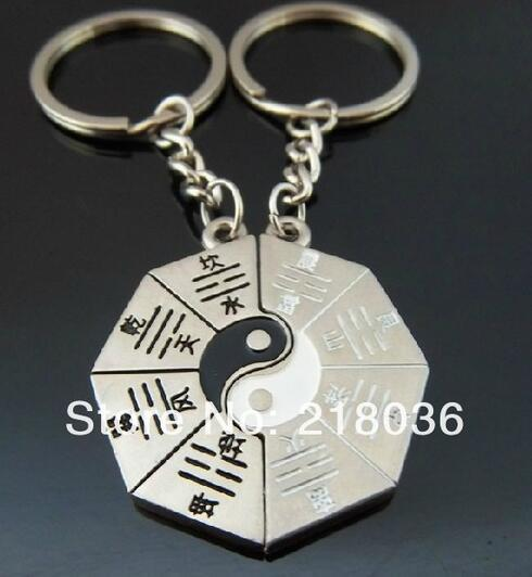 10 Pair Vintage Silver Yin Yang Eight Diagrams Couple Keychain Ring For Keys Car DIY Bag Key Chain Handbag Gift Accessories N522