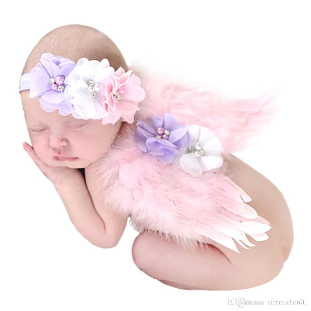 Newborn Baby Photo Prop Feather Angel Wings /& Headband with Rhinestone Flowers