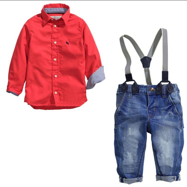plus récent a2c32 bb75f Acheter Hot Baby Boy Outfits Vêtements Pour Garçons Chemise Rouge À Manches  Longues À L'automne + Pantalons Suspendus Costumes Pour Enfants Pour ...