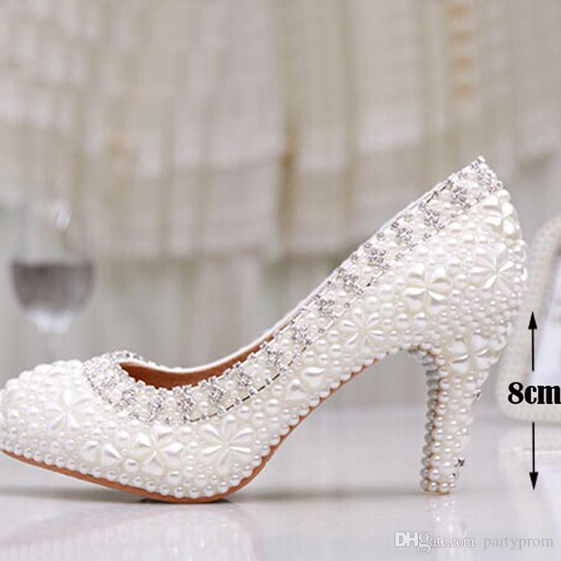 Luxury Pure White Pearl Wedding Shoes 3 Inches Comfortable Round