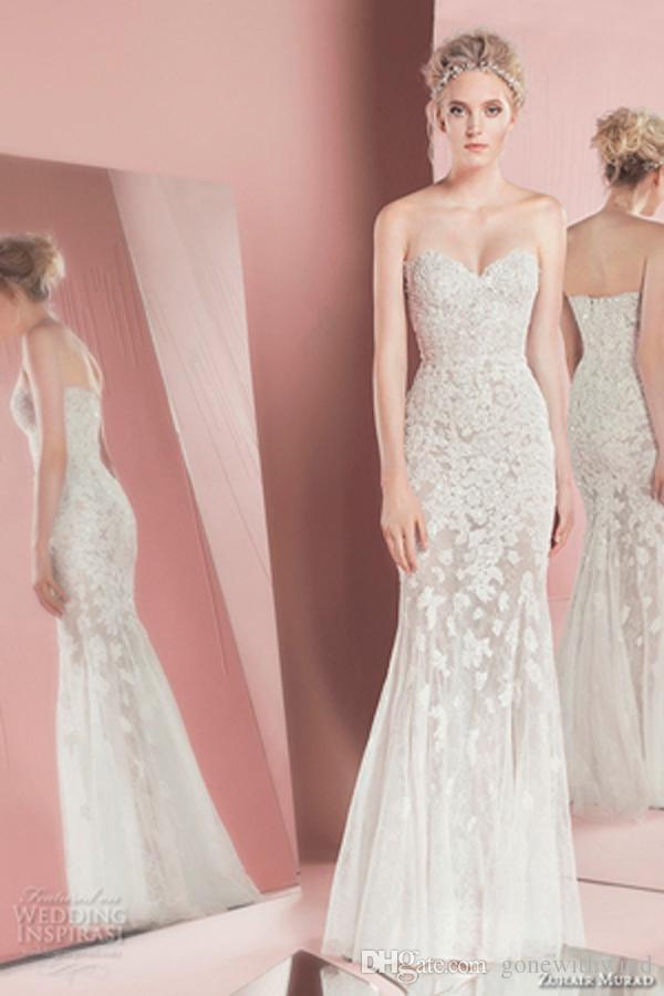 Long Sleeve Detachable Train Lace Wedding Dresses 2016 Zuhair Murad Gowns Strapless Sweetheart Neckline Bridal