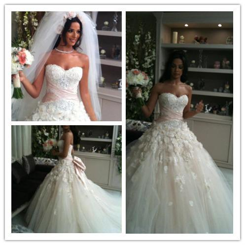 2016 Nadine Njeim Zuhair Murad Wedding Bridal Dresses 3D Floral Appliques Beads Ball Gown Big Bow