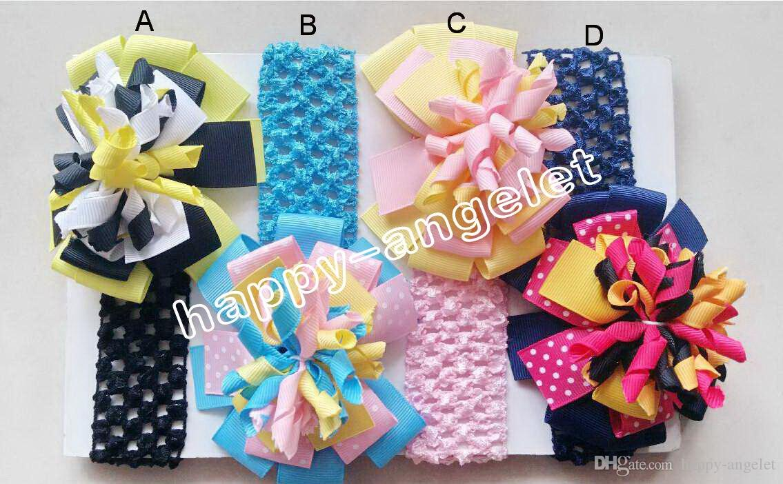Baby 4inch M2M layered Curly Ribbon Hair band hairpins Corker Hairband Korker Hair Bows Clips Crochet Headband Hair Accessories 10pcs PD008