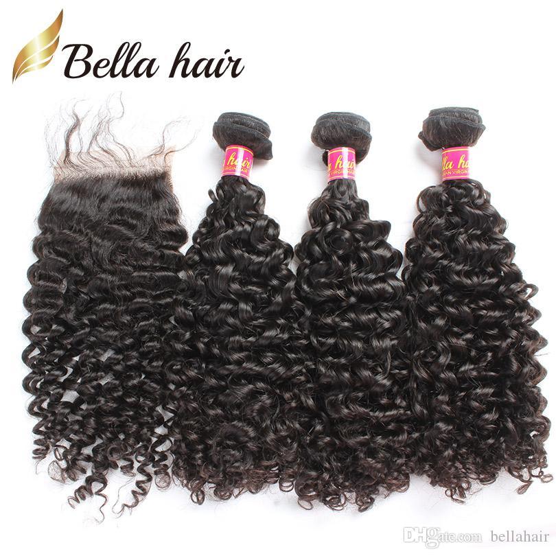 Spitze Verschluss mit Bündeln Virgin Brasilianische Haarfeste 3 stücke Gelockte Haare Gewebt Verlängerung Oberteil Natürliche Farbe Bellahair