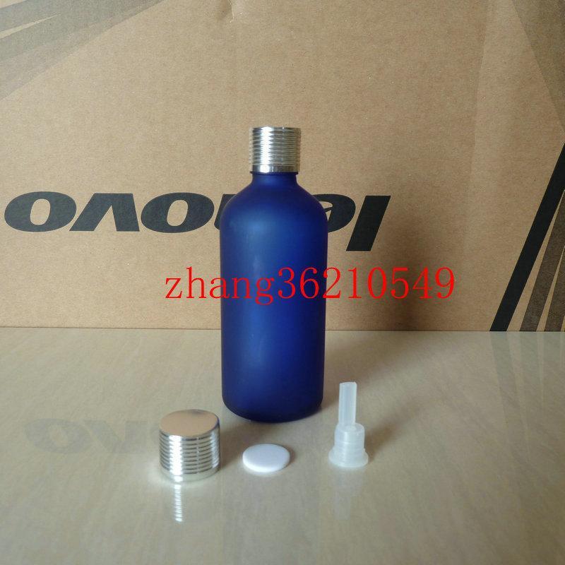 100ml 푸른 젖빛 유리 에센셜 오일 병 반짝이 은색 알루미늄 캡. 오일 바이알, 에센셜 오일 용기