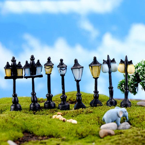 8pcs antico imitazione resina artigianato lampione illuminazione fata giardino casa in miniatura terrario decorazione Jardin microlandschaft