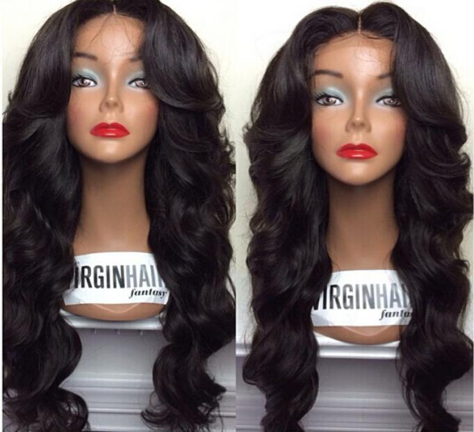 2015 Best Selling Full Lace Wig Ciała Fala Brazylijski Dziewiczy Human Włosy Pełna Koronkowa Peruka / Koronkowa Przód Wig Z Baby Włosy w magazynie !!!