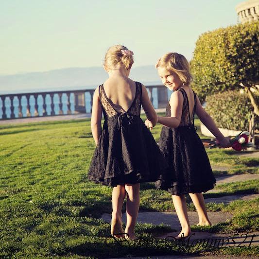 Vestido de niña de flores de encaje Felfish 3-7 años niños Niños sin respaldo Falda de jersey niña Vestido de fiesta dulce de verano
