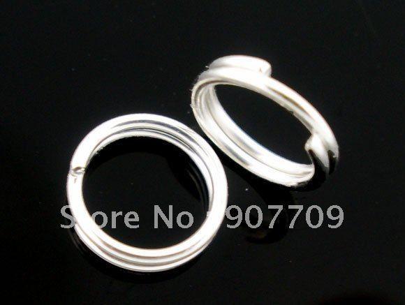 Atacado-1000 Banhado A Prata Duplo Loops Aberto Salto Anéis 6mm / moda jóias Diy Frete grátis