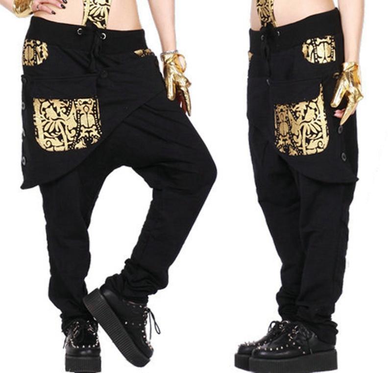 Nova moda Feminina Hip hop desgaste de dança sweatpants ds traje feminino solto big crotch esportes calças lápis harem pants