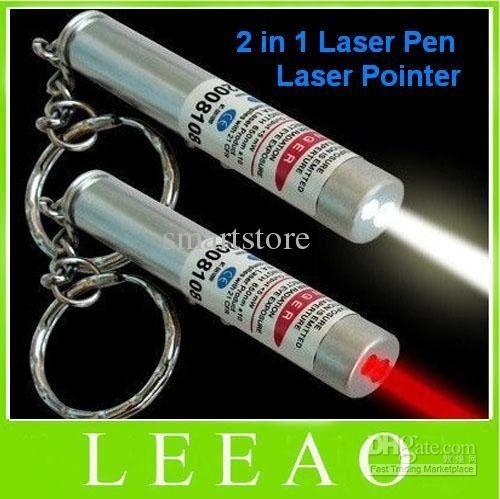 200pcs / lot # جديد 2 في 1 الضوء الأبيض والأحمر مؤشر الليزر القلم سلسلة مفتاح المصباح ضوء سلسلة المفاتيح