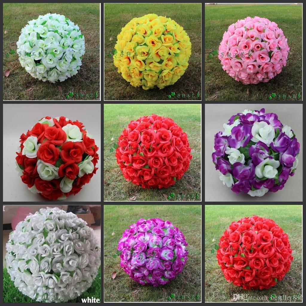 """12 """"~ 16"""" Elegante Künstliche Seide Rosen Blumen Küssen Ball 10 Farben Für Hochzeit Weihnachtsschmuck Party Dekoration Liefert"""