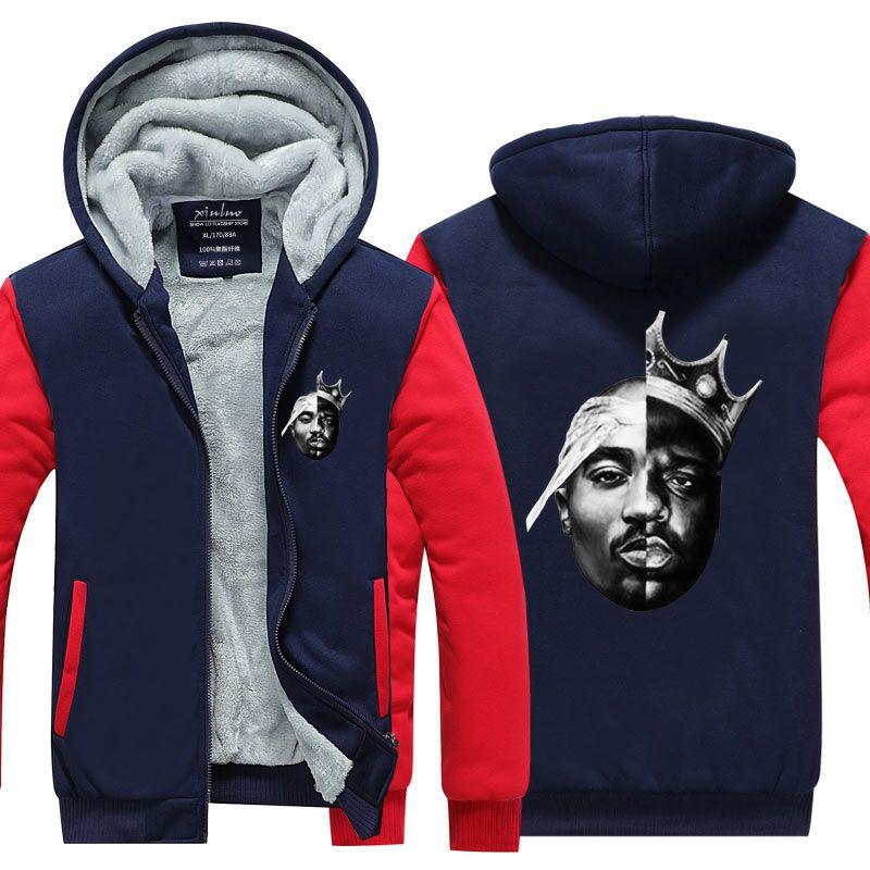 Yeni Sıcak Yenilik Eşkıya yaşam erkek Tupac 2pac Kalça Pop Streetwear sokak moda Kalınlaşmak polar ceket fermuar ceket ABD Boyutu kapüşon hoodies
