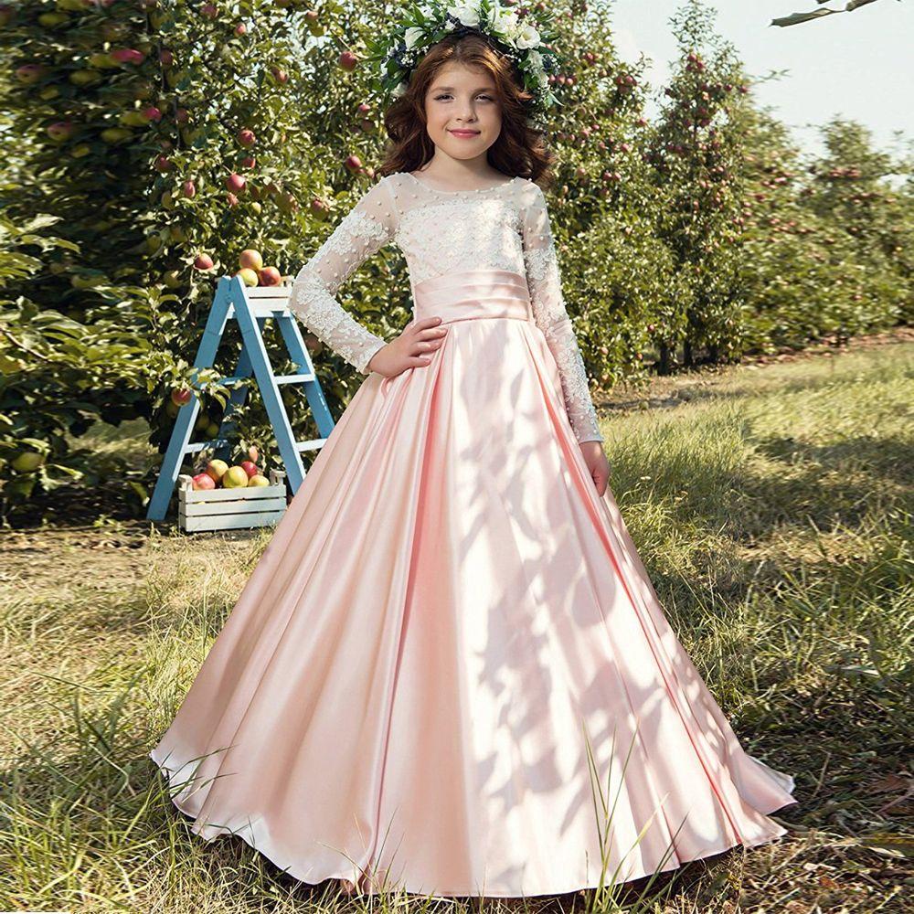 Großhandel Kinder Brautkleider Mit Spitze Perlen Langarm Bodenlangen Weißen  Prinzessin Kleid Ballkleid Mädchen Heilige Erste Kommunion Kleid Von