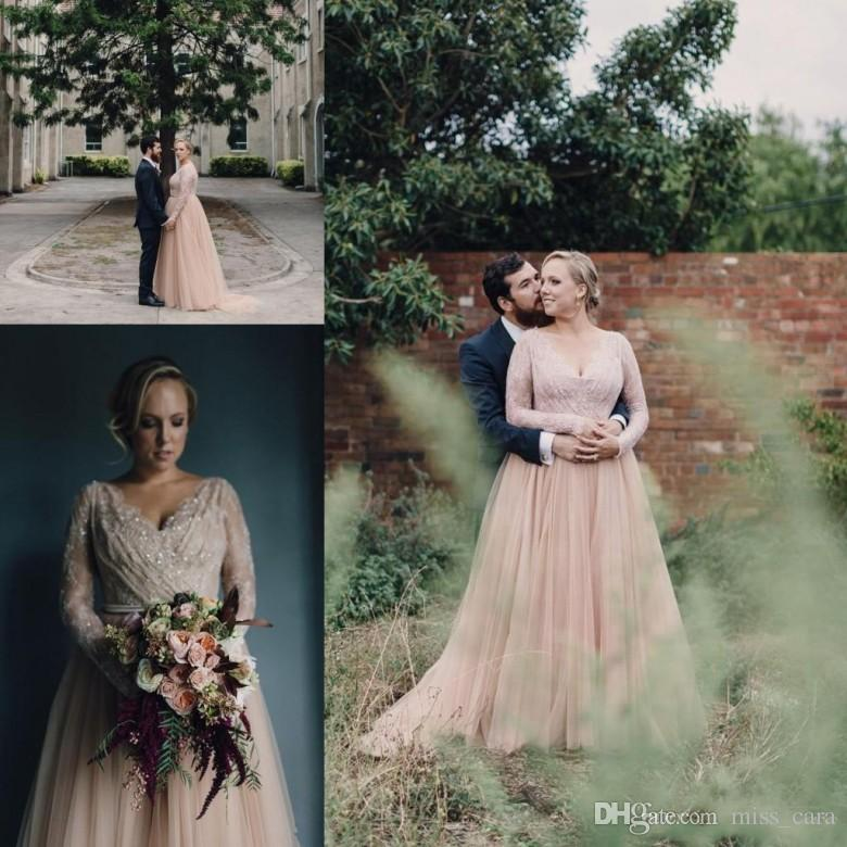 Blush Pink Country Wedding Dresses A Line V Neck Long Sleeves Lace Appliques Beaded Plus Size Wedding Dress Bridal Gowns