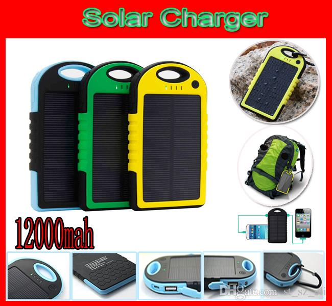 Shockproof Waterproof 12000mAh Solar Charger Battery 2 Ports Solar Panel backup power bank + Flashlight 12000 mah 2-Port Solar Chargers