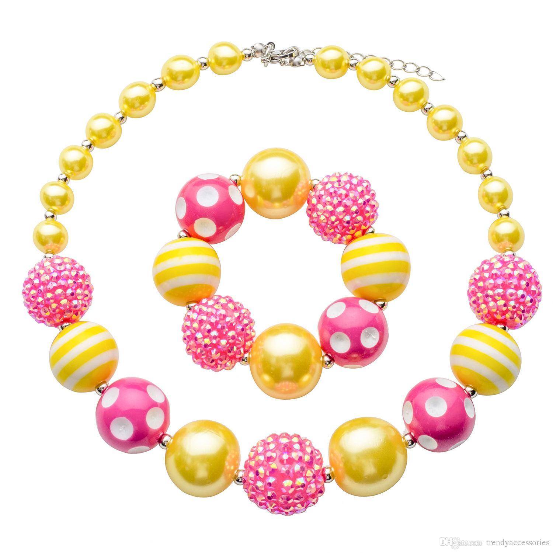 Bracelet de collier Chunky rose limonade jaune définie bijoux fille, collier de perles bébé enfant en bas âge,