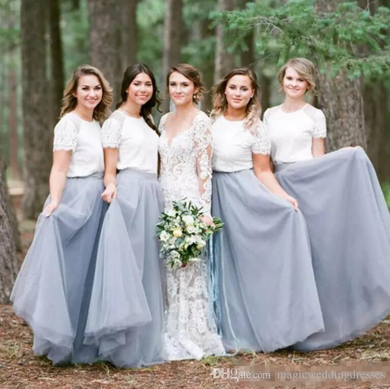 Ülke Boho Plaj Uzun Gelinlik Modelleri 2018 Kısa Kollu Beyaz Dantel Üst A Hattı Şifon Hizmetçi Onur Elbise Düğün Için