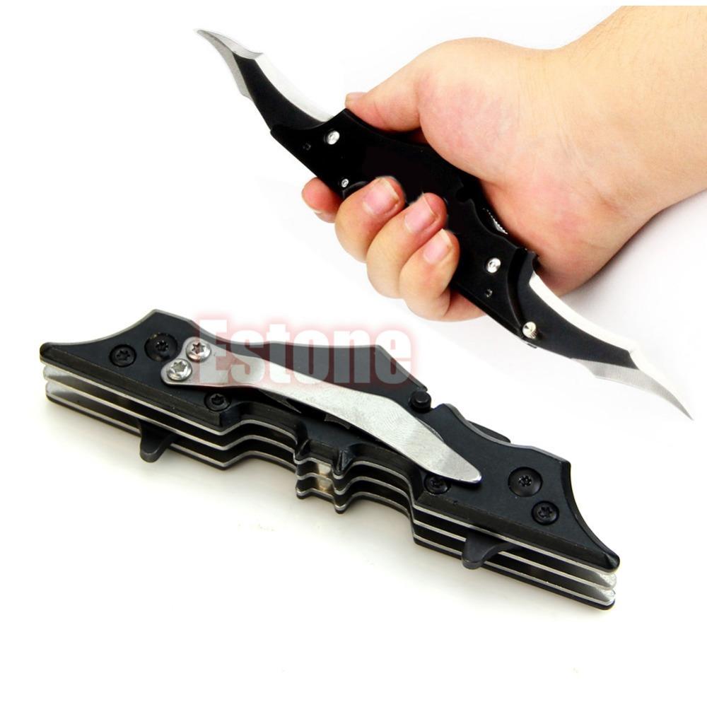 sobrevivência ao ar livre preto / vermelho ao ar livre Batman dois processadores Dual Bladed faca dobrável ferramenta de O Cavaleiro das Trevas