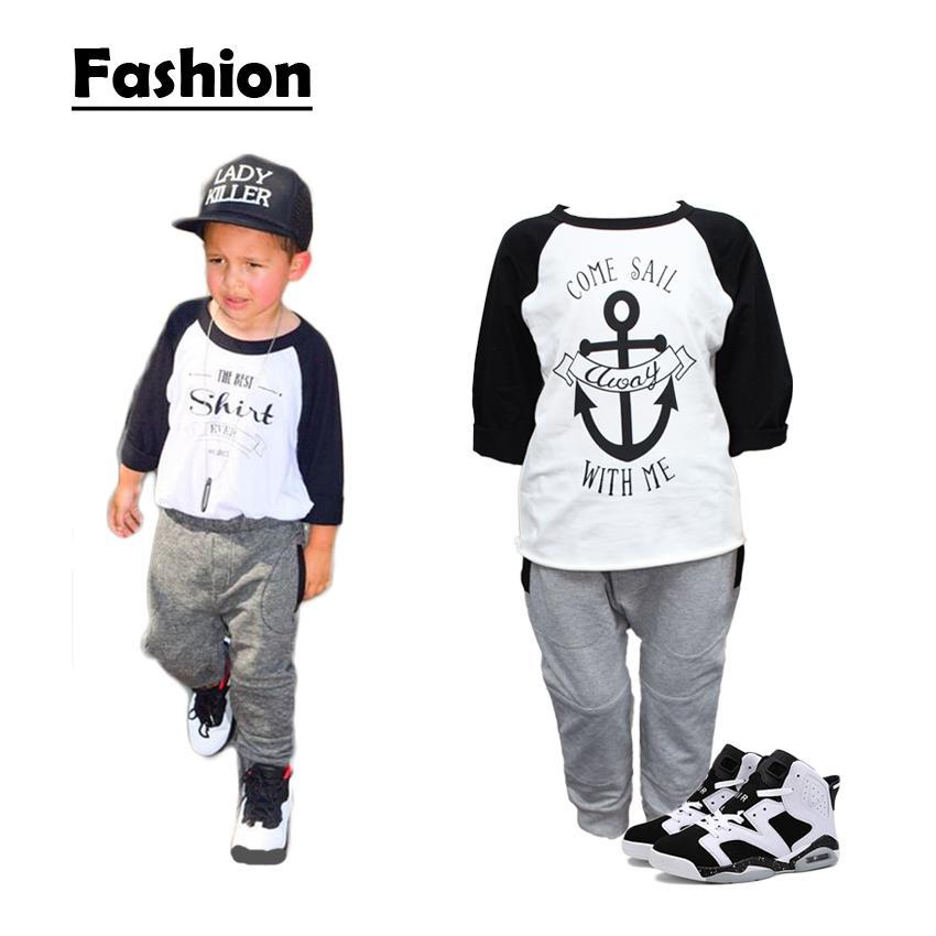 Crianças inverno Moda Carta impressa roupas de bebê Boutique Roupas crianças roupas meninos meninas treino roupa 7 conjuntos muito