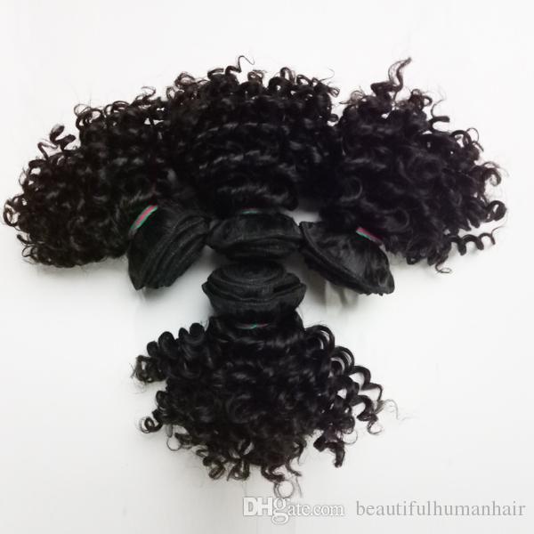 Belle humaine vierge brésilienne des cheveux bouclés à double trame cheveux courts Kinky bob style de tissages extensions de cheveux birmans remy indien