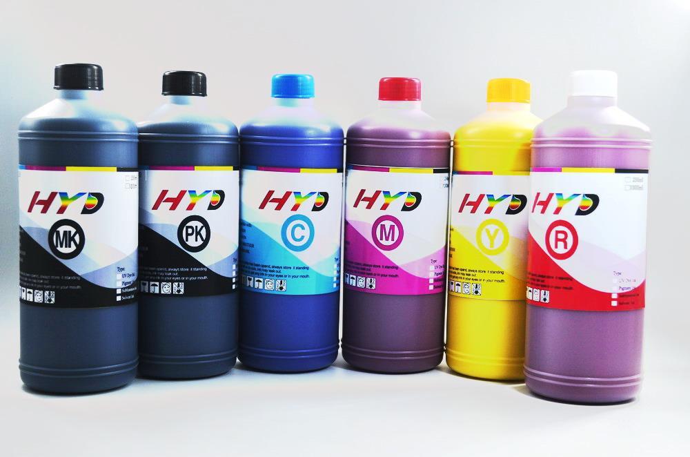 Hyd 6-Color Water Based Pigment Ink Refill Kit voor Canon ImagePragaf IPF6400SE, IPF8400SE-printer, MBK, BK, C, M, Y, R ELK 1 liter