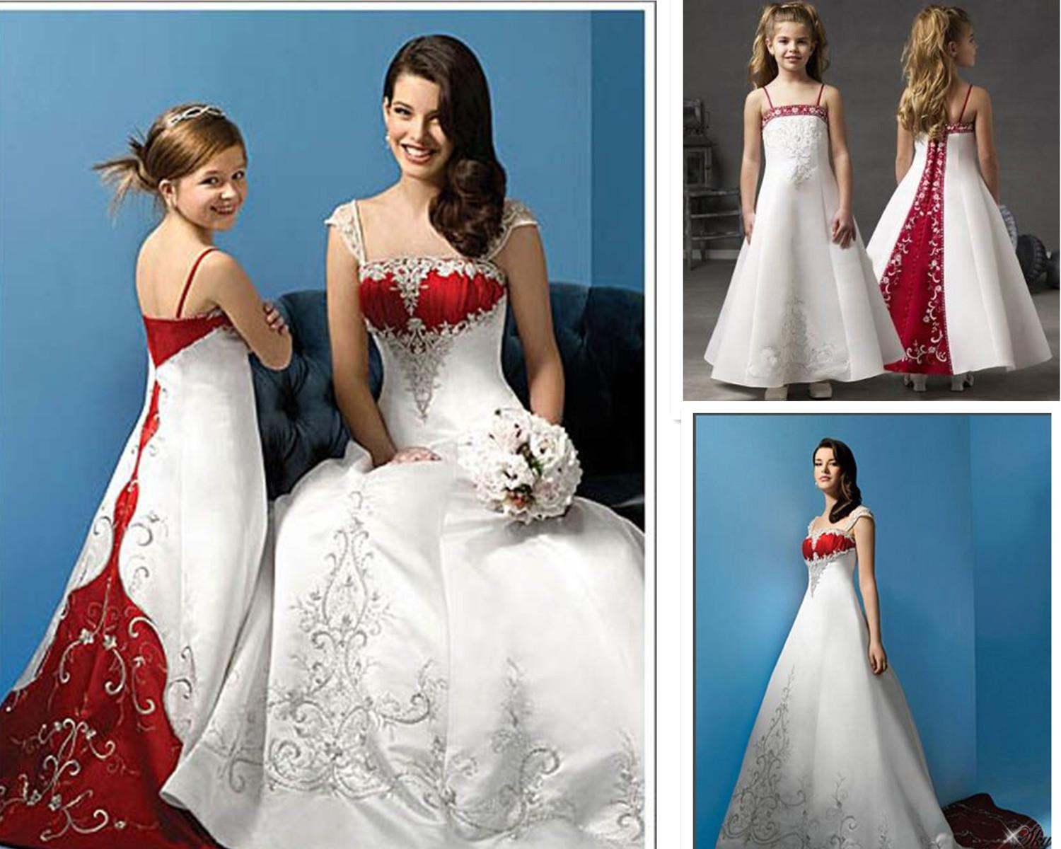 Discount Exquisite White And Red Wedding Dress Mother Daughter Matching  Dresses Plus Size Wedding Dress Cap Sleeves Embroidery Maternity Wedding  Gown ...