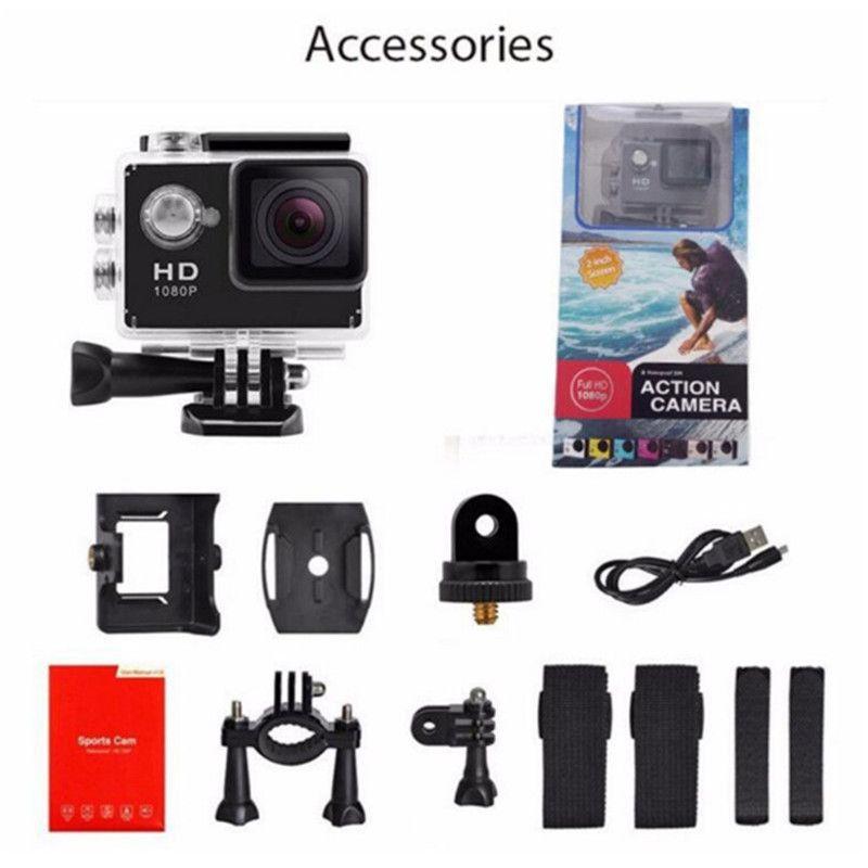 Hot SJ4000 1080 P Full HD Action Digital Sport Camera 2 pulgadas de pantalla bajo prueba de agua 30M DV Grabación Mini Sking Bicycle Photo Video 30pcs