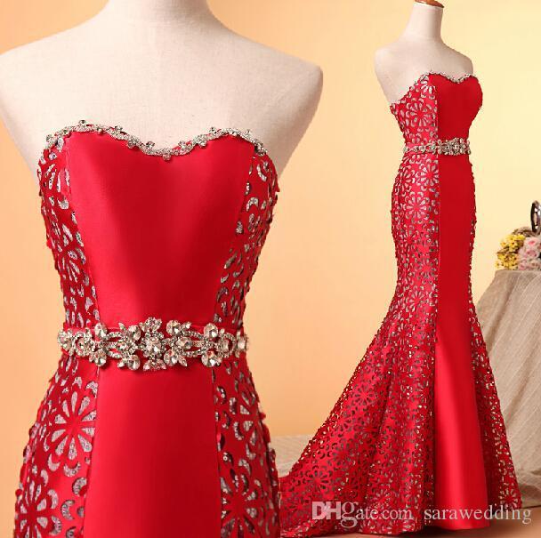 新しい赤い青のおしゃれなヘビーステイマーメイドの恋人のクリスタルの床の長さのイブニングドレス2019 Prom Downs
