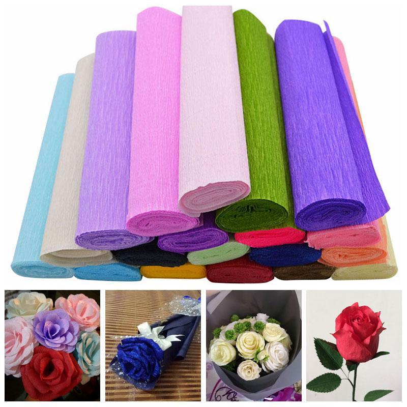 250x25 cm 1 rolo diy flor fazendo crepe papeis de embrulho de flores presentes materiais de embalagem artesanal diy papel de embrulho ofício decoração