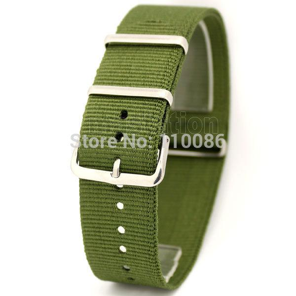 Wholesale-Army Green 22mm Band Width Fabric Nylon Canvas Wrist Watch Band Strap Stainless Steel Buckle Sports Mens Womens free shipping