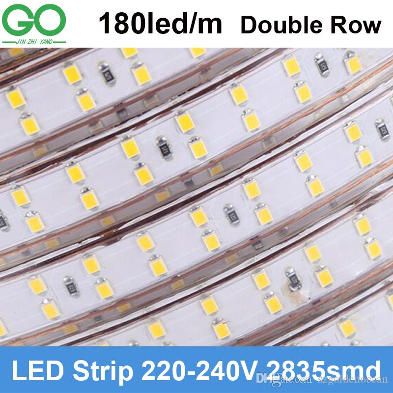competitive price 9a812 35aac LED Strips Light 180led/M 220V 230V Super Bright SMD 2835 Double Row Warm  Cold White Waterproof+Power Plug Hotel Building Lighting 50mLed Strip Light  ...