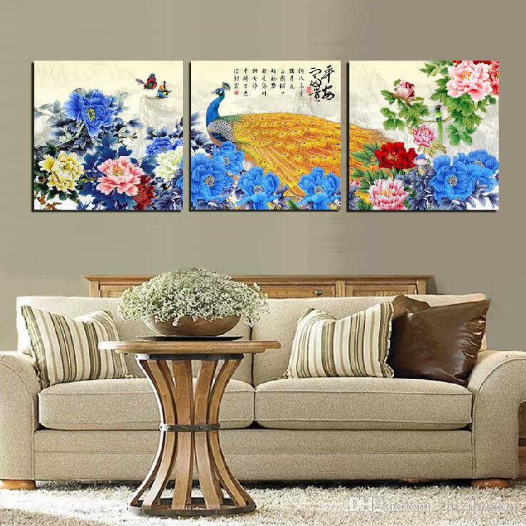 3 Pieces Free shipping Wall Painting Art Picture Paint on Canvas Prints peony peacock chinese characters fish mountain Pine natural scene
