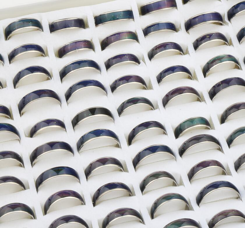 Hot sell 100pcs Lots Unisex Mood Rings Amazing Magic Color Change Emotion Feeling 8mm 5mm 6mm With Box