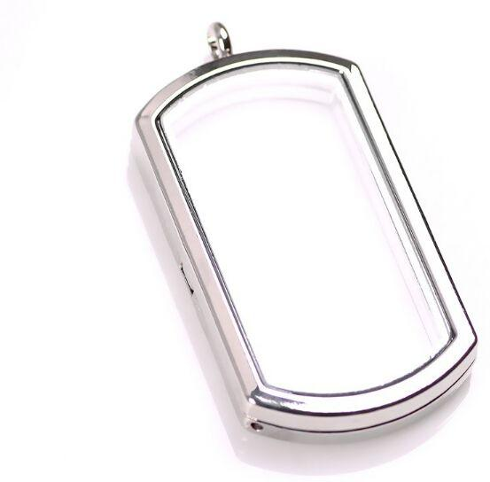 10PCS/lot NEW 4 Colors 40MM Alloy Floating Locket Dog Tag Shape Memory Living Glass Lockets Necklace Pendant