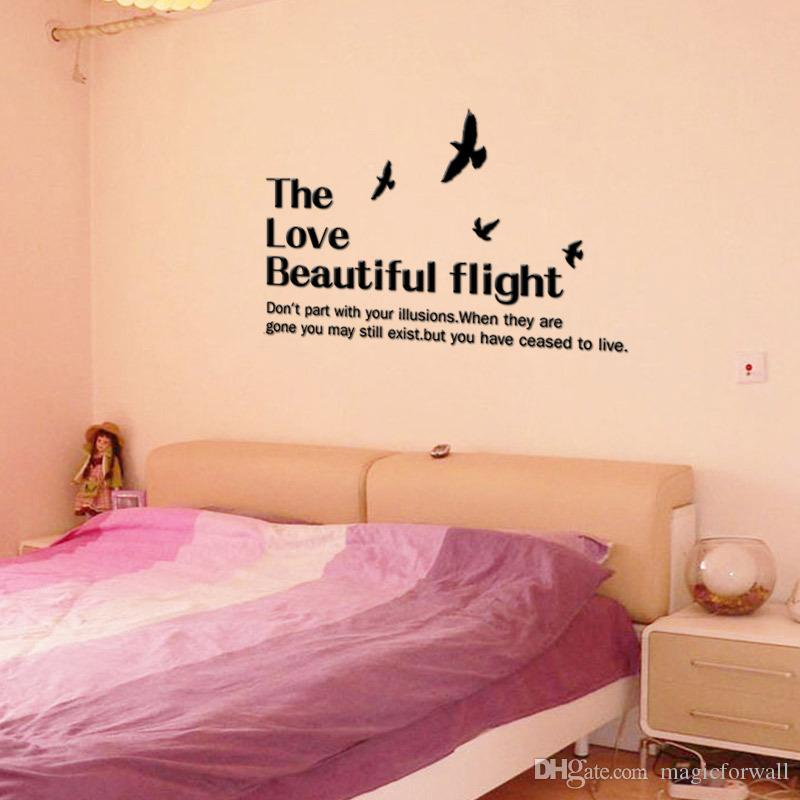 Love Beautiful Flight WALL STICKERS REMOVABLE HOME DECAL Art PVC DECOR WORDS WALL GRAPHICS LETTERING WALL MURALS