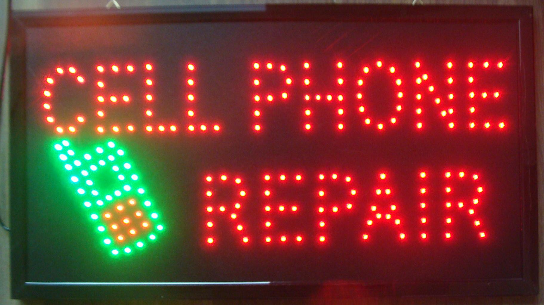 Sıcak satış ultra parlak led neon burcu cep telefonu tamir animasyonlu neon cep telefonu tamir dükkanı açık boyut 19x10 inç