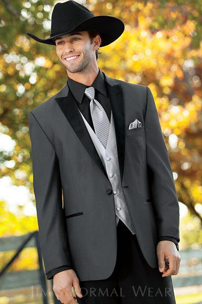 Handsome Dark Grey Mens Wedding Suits with Black Peaked Lapel One Buttton Groom Tuxedos Formal Occasion Prom Suits (Jacket+Pants+Vest+Tie)