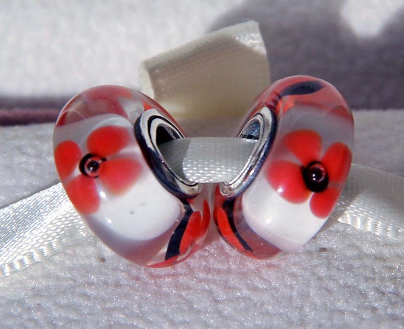 5 sztuk S925 Sterling Silver Gwinted Śruba Wildflower Hołd Murano Szklane Koraliki Fit Pandora Urok Biżuteria Bransoletki Naszyjniki