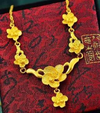 wonderful yellow gold filled flower pendant lady's necklace (pfmcgy88 nmjj