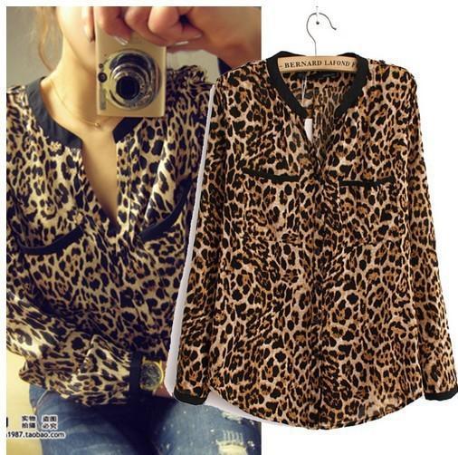 Mulheres sexy leopardo de manga comprida com decote em v chiffon camisa casual blusa tops roupas femininas