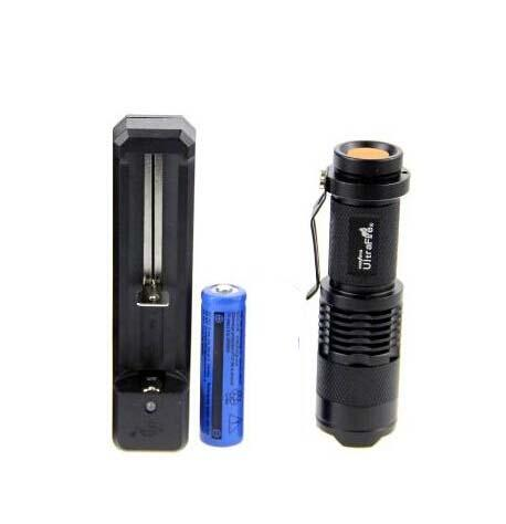 Ultrafile 미니 FlashLight 크리 어 Q5 LED 손전등 토치 조절 초점 줌 방수 손전등 램프 +14500 배터리 + 103i 충전기