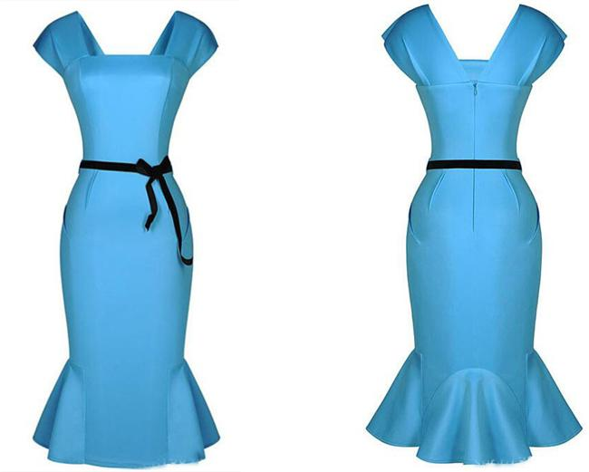 Party Dress Fish Tail Dress Party Dress New Womens Vintage and Ruffle Fish Tail Dress Hot Womens Wrap and Package Buttocks Slim Skirt