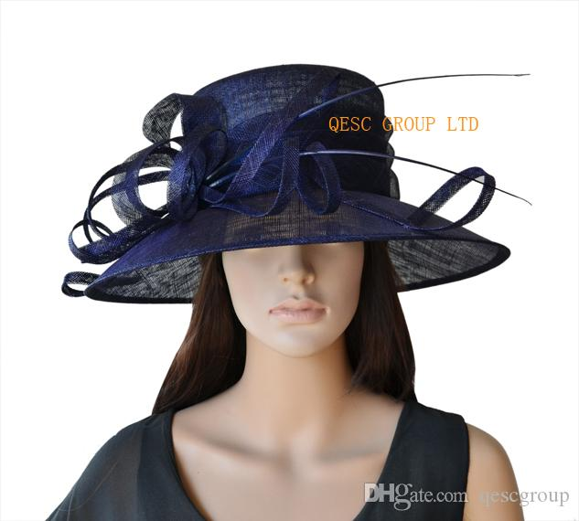 Wide brim navy blue Dress Church Sinamay Hat with ostrich spine for Kentucky Derby,wedding,party,Ascot